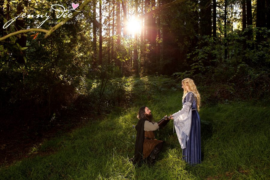 Kellie and Andy's Lord of the Rings themed Engagement photos at Roberts Regional Recreation Area in Redwood Regional in Oakland 11