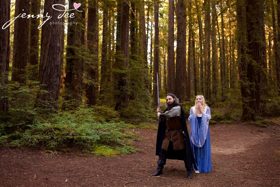 Kellie and Andy's Lord of the Rings themed Engagement photos at Roberts Regional Recreation Area in Redwood Regional in Oakland 14