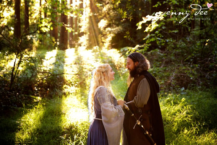 Kellie and Andy's Lord of the Rings themed Engagement photos at Roberts Regional Recreation Area in Redwood Regional in Oakland 3