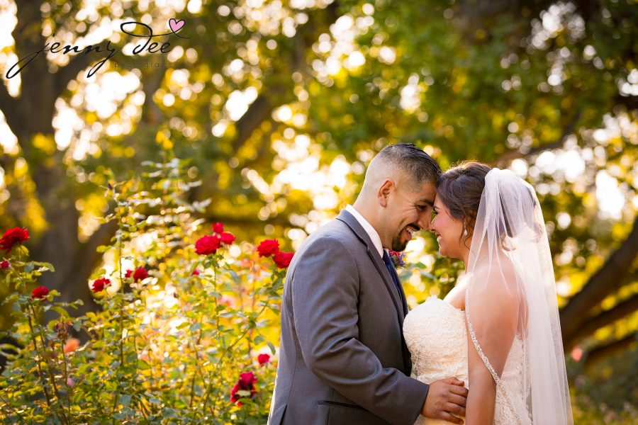 Wedding photo portrait for Bride and groom at San Mateo Central park rose garden